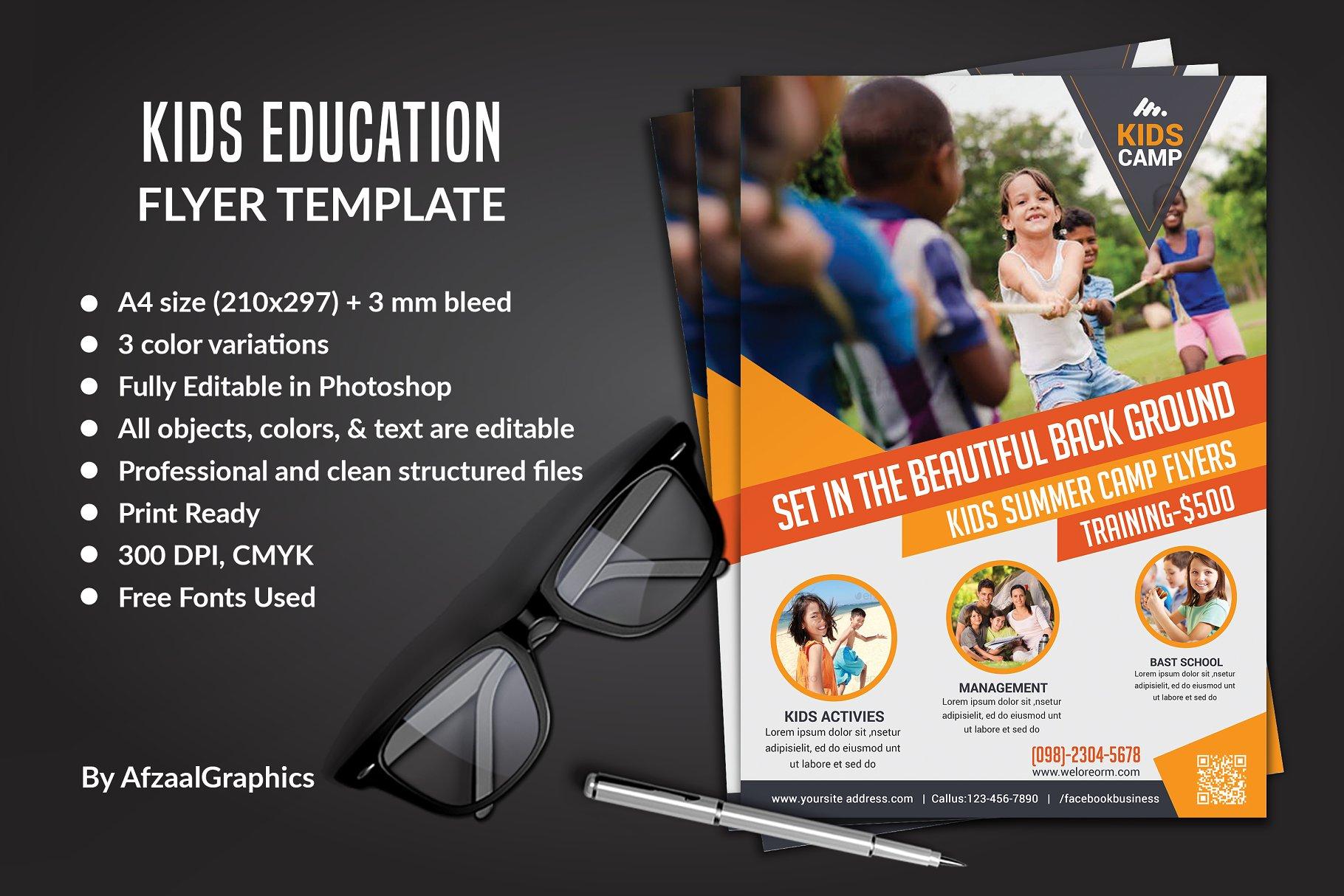 Kids Education Flyer Template Flyer Templates Creative Market Pro