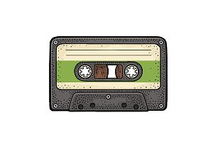 Retro audio cassette. Vintage vector black engraving illustration