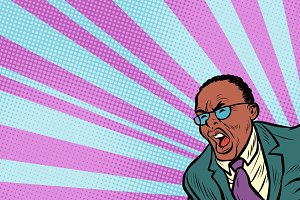Pop art man shouting. African American people