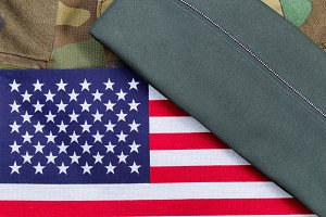 USA Flag with Military Uniform