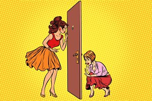 Two women spy on each other through the door