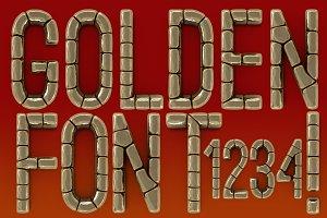 Golden font. PSD