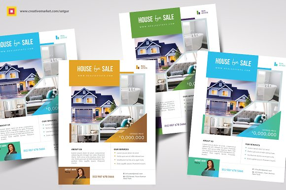 Real Estate Flyer Template Flyer Templates Creative Market - House for sale brochure template