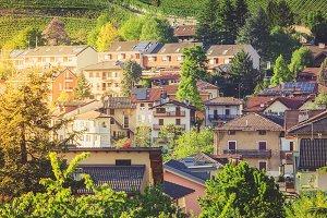 Alpine town in golden hour light