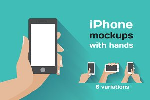 iPhone mockups with hands