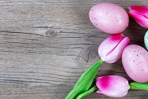 Easter Background on rustic wood