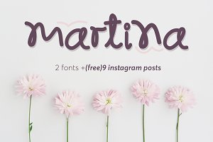 Martina font and 9 Instagram posts