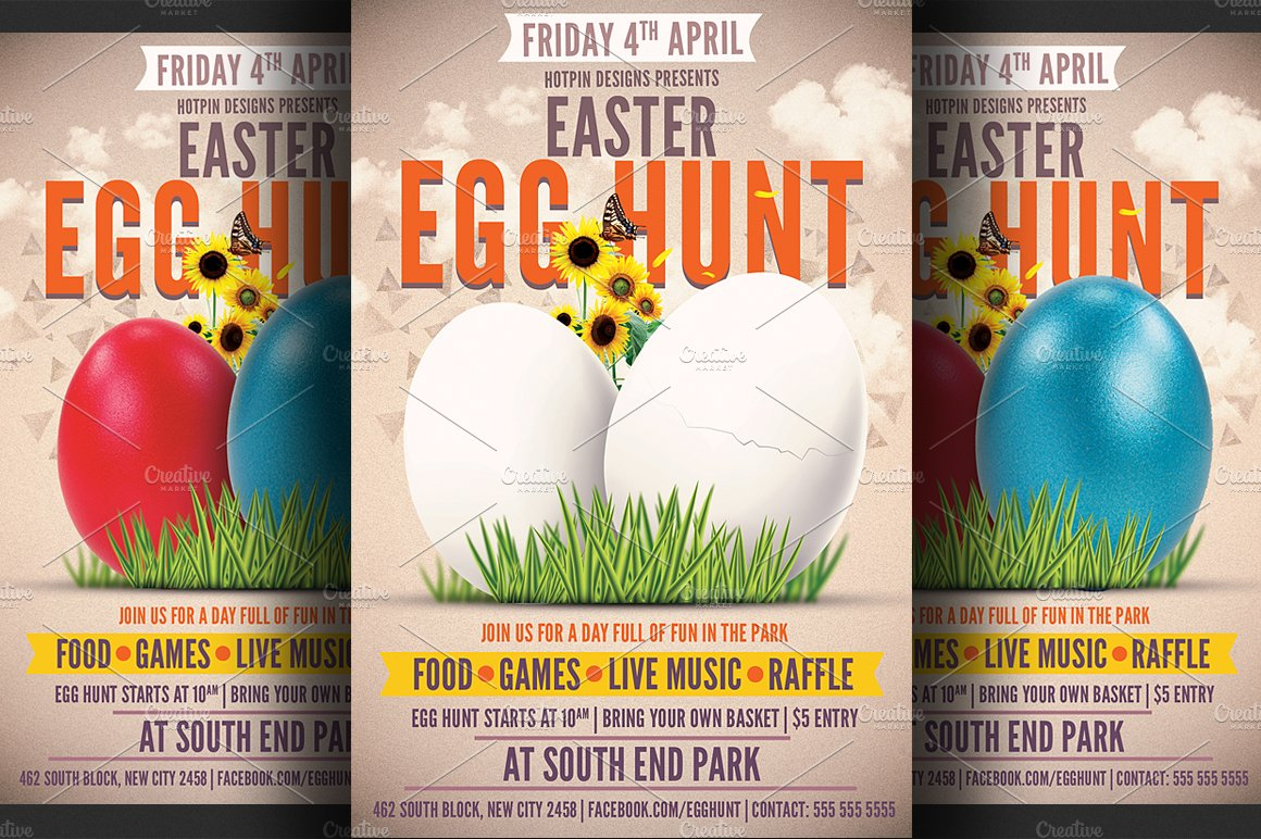 easter egg hunt flyer template flyer templates creative market