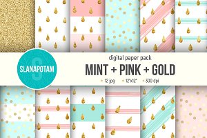 Digital paper pack MINT+PINK+GOLD