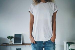 Blonde girl wearing white t-shirt