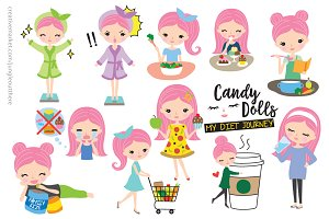 Cute Girl Healthy Diet Vector EPS