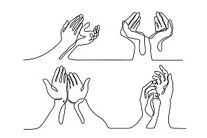 Set of Hands palms together