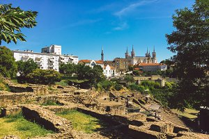 Lyon, France. View of the archaeological zone of the antique period on the hill Fourviere