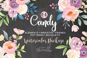 Candy Pastel Watercolor Flower Pack