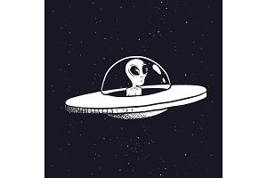 alien in a flying saucer