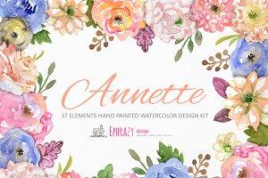 Annete floral bundle. Clipart paper