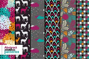 Set of 6 bright seamless patterns