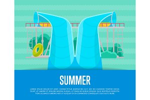 Summer aquapark poster with water tube