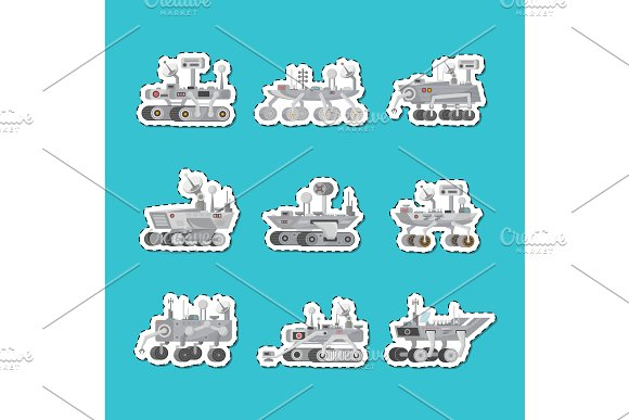 Mars rovers isolated labels set