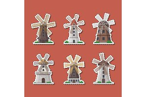 Traditional old windmill buildings labels