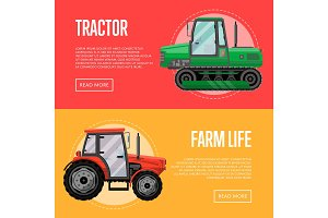 Heavy agricultural machinery flyers set