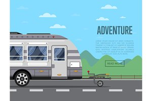 Road adventure poster with camping trailer