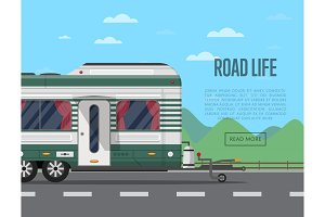 Road life poster with camping trailer