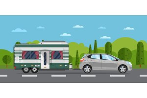 Road travel poster with hatchback car and trailer