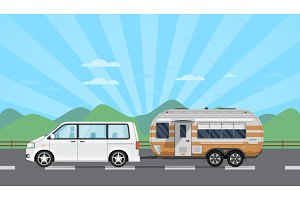 Road trip poster with hatchback car and trailer