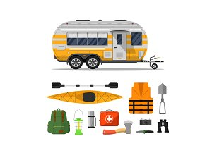 Travel life poster with camping trailer