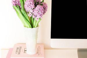 Purple Flowers Desktop Stock Image