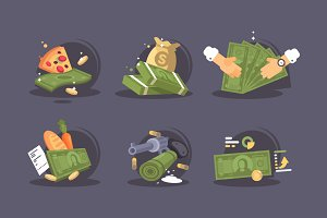 Money banknotes icon set