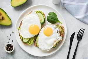 Egg and avocado breakfast toast