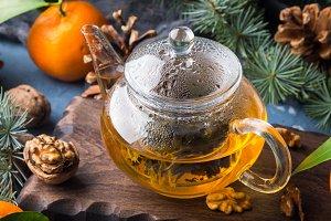 Winter tea and tangerines