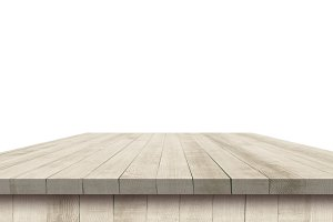 Empty wooden table perspective with clipping mask