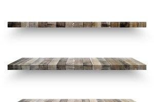 Wooden shelf template set isolated