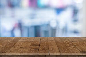 Rustic wooden table vintage style in perspective