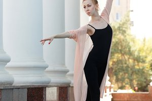 Ballerina in pointe dancing in stree