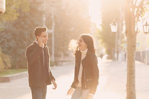 Teenage couple on a date
