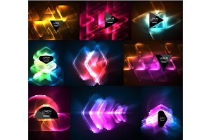 Set of glowing neon light effects digital backgrounds