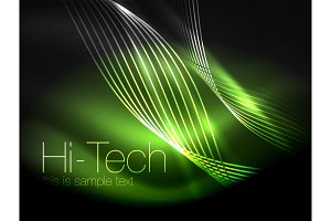 Elegant neon flowing stripes, smooth waves with light effects