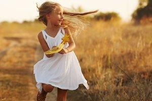 Little girl is running