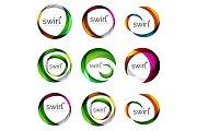 Set of swirl circles abstract vector icons. Circle, helix, rotation, spiral motion concepts