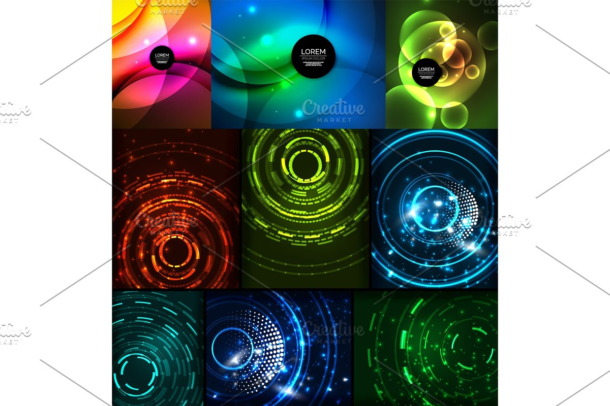 Neon glowing backgrounds in Illustrations - product preview 8
