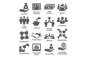Business management icons Pack 32