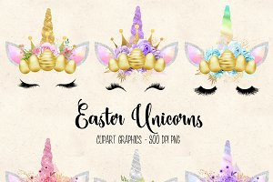 Easter Unicorn Faces clipart