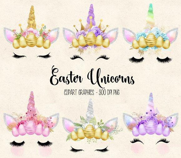 Easter Unicorn Faces clipart