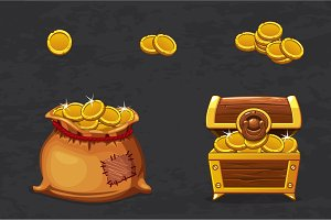 Open old bag and wooden chest. Ancient pirate money for winner. Vector cartoon illustration coins icons for web, games
