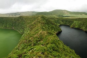 Aerial view to Comprida and Negra lakes , Flores island , Azores. Portugal