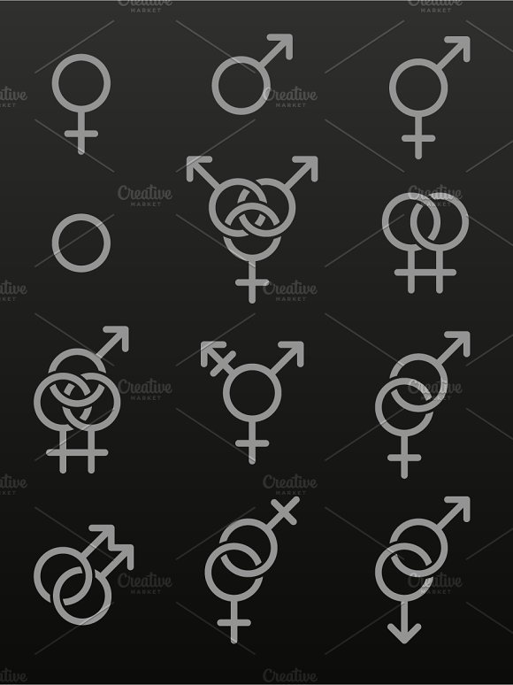 Set of sexuality line icons